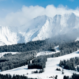 Tree-lined-ski-runs-and-Mont-Blanc-above-Saint-Gervais